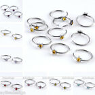 No Piercing Stainless Steel Crystal Star Fake Cheater Nose Lip Ring Hoop Earring