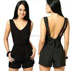 Womens Ladies V Neck Bowknot Bodycon Jumpsuit & Romper Trousers Clubwear Chic