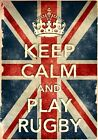KCV17 Vintage Style Union Jack Keep Calm Play Rugby Funny Poster Print A2/A3/A4