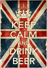 KCV4 Vintage Style Union Jack Keep Calm Drink Beer Funny Poster Print A2/A3/A4