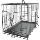 "36"" Dog Crate 2 Door w Divide w Tray Fold Metal Pet Cage Kennel House for Animal"