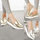 Womens Pointed Toe Slip On Metallic Faux Leather Thick Sole Loafers Flats Shoes