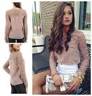 Women Crewneck Lace Crochet Embroidery Sheer Sleeve Casual Top Blouse Shirt -CB