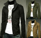Men`s Collar Military Jacket Size SMLXLXXL NEW Casual Slim Fit Long Zip Coat Top