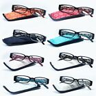 New! READING GLASSES Plastic Frame Men Women Spring Hinged with Matching Pouch