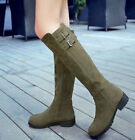 Womens Faux Suede Knee Boots Low Heels 4 Colors Pull On Shoes Round Toe