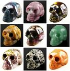 F1712 Carved agate rhodonite aventurine etc. skull head figurine