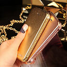 Rhinestone Diamond Metal Bumper Frame Leather Case Cover for Apple iPhone 5 5S