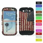 Samsung Galaxy S3 USA American Flag Hard & Rubber Hybrid Impact Armor Case Cover