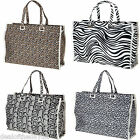 Large Zip Shopping Beach Bag Animal Print Shopper Tote Reusable Leopard Zebra