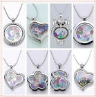 Floating Living Memory Locket Necklace Free total 13 Charms Birthstone Crystal