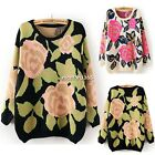 Women Vintage Sweet Long Sleeve Loose Warm Pullover Jumper Knit Sweater N4U8
