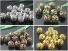 Wholesale 4mm 6mm 8mm 10mm Round Filigree Hollow Spacer Beads For Jewelry Making
