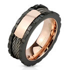 Stainless Steel Men's Tri-Tone Wire with Middle Plate Center Band Ring Size 9-13