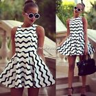 Black White Wave Striped Women Sexy Mini Short Sleeveless Dress Cocktail Evening