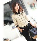 Womens Dog Printed Lapel OL Chiffon Long Sleeve Button Down Shirt Blouse #UKLO02
