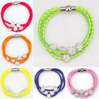 Leather Braided Wristband Cuff Magnetic Clasp Disco Ball Crystal Beads Bracelet