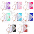 For Apple Samsung Lady Women Card Clutch Strap Purse Leather Magnetic Case Cover