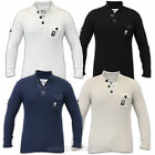 Mens Jumper Crosshatch Knitted Top Funnel Neck Ribbed Pullover Cotton Winter New