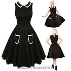 RKH60 Hearts & Roses Black Audrey Rockabilly Formal Evening Dress 50s Retro Plus