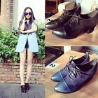 Retro Ladies Suede Leather Pointed Toe Mid Chunky Heel Lace Up New Casual Shoes