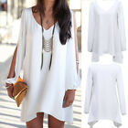 Chic Women's V Neck Split Long Sleeve Dress Chiffon Beach BOHO TOP Shirt 6 Size
