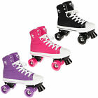 NEW ROOKIE HI-TOP CANVAS LACE UP QUAD CHILD ADULT RETRO PLIMSOLL ROLLER SKATES