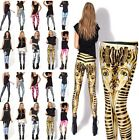 Hot Ladies Pattern Stripes Leggings Stretchy Jeggings Pencil Tights Pencil Pants