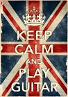 KCV30 Vintage Style Union Jack Keep Calm Play Guitar Funny Poster Print A2/A3/A4