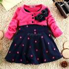 Baby girl Dress Fake Two-Pieces Princess Wool Knitted Long Sleeve Party Dress