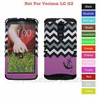 For LG G2 Purple Anchor Love Chevron Design Hybrid Rugged Impact Case Cover