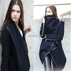 Lady Women Woolen Zipper PU Edge Winter Warm Trench Coat Jacket Outwear Parka