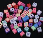 50 PCS Mixed Color Polymer Clay Fimo Cube Shape Loose Beads Spacer Beads 6mm