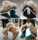 Womens Real Fur Mid Calf Snow Boots Leather Fur Lining Winter Warm Shoes Size