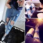 Women Sexy Boyfriend Low Waist Ripped Jeans Denim Trousers Hole Loose Pants New