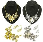 Retro Gold Silver Metal Clear Crystal Flower Necklace Leaf Earring Jewelry Set