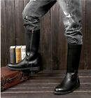 Leather Shoes Stylish Mens Worker Military Knee High Riding Zipper Boots 206