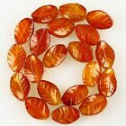 K59657 Carved Gemstone Red agate leaf loose beads 20pcs wholesale mix