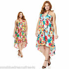 NWT EXTRA TOUCH Exotic HAWAIIAN BLOSSOMS Tropical HIGH LOW Sun HALTER Dress 3X