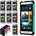 Color Black Hybrid Rugged Hard / Soft Matte Case Skin Cover for HTC One M7 Phone