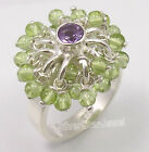 925 Silver AMETHYST PERIDOT GEMS BEADS Ring Any Size