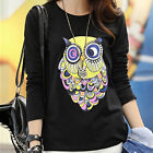 Womens Autumn Black Cotton Casual Colorful Owl Long Sleeve Top T-shirt Blouse