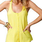 TRENDY! Sommer LONG TANK TOP SHIRT GELB mit Bindeband Baumwolle Gr.34 36 38