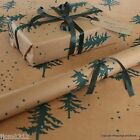Christmas Winter Forest Green Patterned Kraft Brown Wrapping Paper 5 or 10 mtrs
