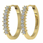 SI1/G 0.45Ct Prong Set Natural Diamond 14Kt Gold Excellent Hoops Huggie Earring
