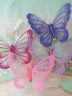 GLITTER BUTTERFLY WITH CLIP DECORATIVE ORNAMENT MESH NET GAUZE X 1