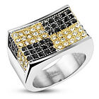 316L Stainless Steel Gold & Black Checkered 1.68 Carat CZ Ring Size 7-13