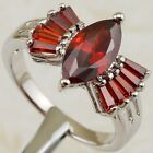 Size 5.5 6.5 7.5 8.5 Nice Fire Garnet Red Marquis Gems Gold Filled Ring K2148-19