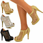 Womens Ladies Sparkly High Heel Ankle Boots Sequin Mesh Lace Peep Toe Shoe Boot