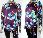 BARGAIN!!! NEW BEAUTIFUL PURPLE & BLUE FLORAL SIDE TIE TOP SIZE 14 16